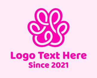 Loop - Pink Paw Print Loop logo design