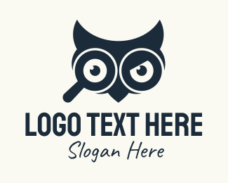 Knowledge - Black Owl Magnifying Glass logo design