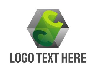 Dice - 3D C Cube Prism logo design