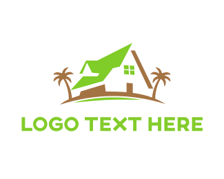 Cottage - Green Beach House logo design