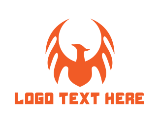 Dagger - Orange Dragon Wing logo design