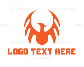 Dinosaur - Orange Dragon Wing logo design