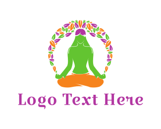 Burning Man - Floral Yoga logo design