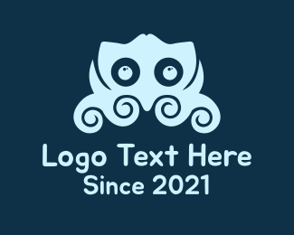 Creature - Blue Little Octupus logo design