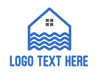 Flood - Blue Wave House logo design
