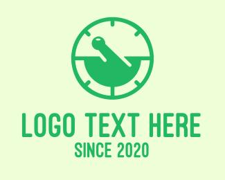 Stopwatch - Green Mortar & Pestle Stopwatch logo design