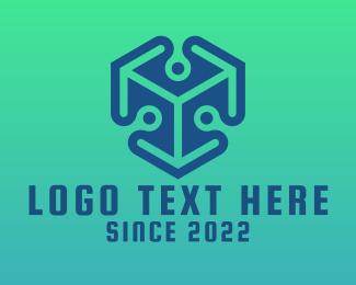 Object - Blue 3D Cube  logo design
