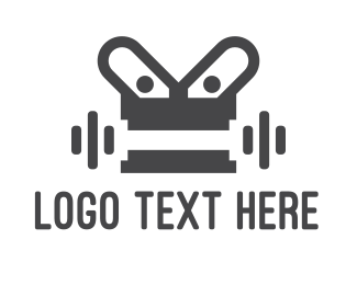 Gym Instructor - Robot Gym logo design