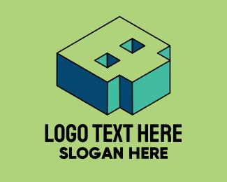 Pop Art - 3D Pixel Letter B logo design