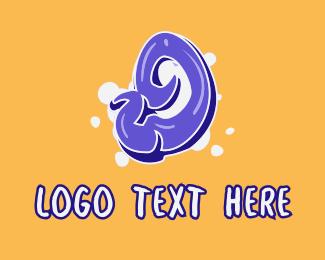 Number - Blockbuster Graffiti Number 9 logo design