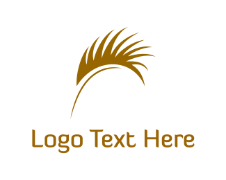 Brown - Palm & Feather logo design