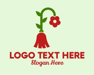 Stem - Flower Broom  logo design