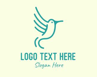 Hummingbird - Teal Hummingbird logo design