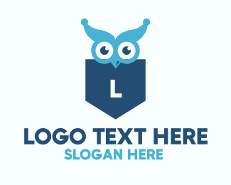 Nocturnal Animal - Blue Owl Lettermark Shield logo design