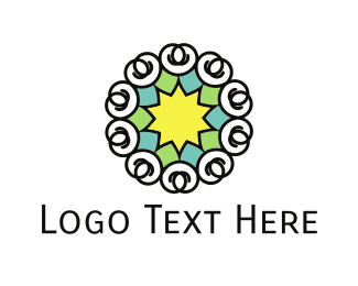 Jewish - Star Flower logo design