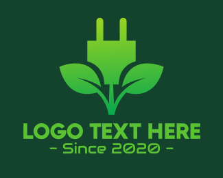Natural Energy - Eco Leaf Energy Plug logo design