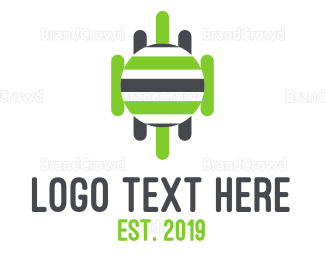 Robot - Robotic Stripes logo design