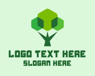 Geometric Shapes - Modern Geometric Tree logo design