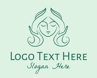 Hairdresser - Green Woman Hairdresser logo design