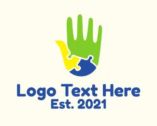 Pediatric - Puzzle Hand logo design