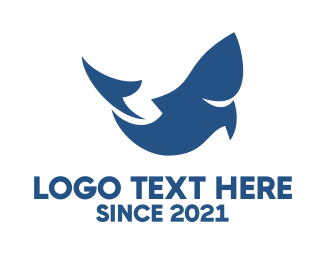 Shark - Abstract Blue Fish logo design