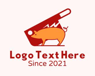 Pork - Butcher Knife Pig logo design