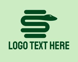 Online Game - Green Snake Letter S  logo design