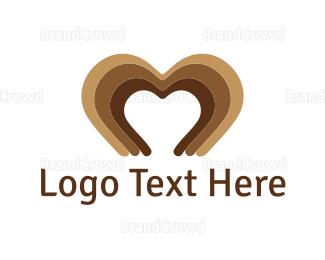 Cacao - Brown Heart logo design