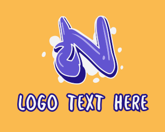 Vape Shop - Blockbuster Graffiti Letter N logo design