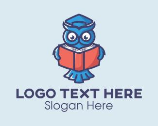 University - Reading Book Owl logo design