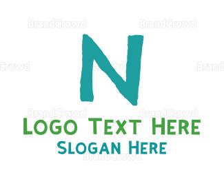 Newborn - Crayon Letter N logo design