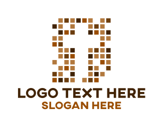 Bible Study - Brown Tile Cross logo design