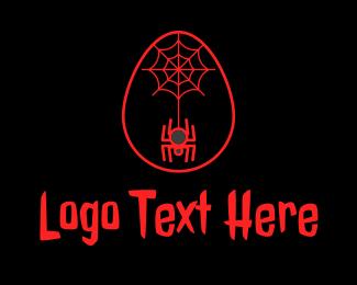 Spider - Red Spider Web Egg logo design