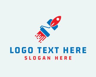 Paint - Paint Rocket logo design