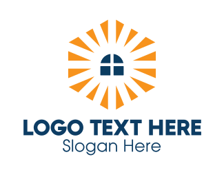 Construction - Window Sunburst Polygonal  logo design