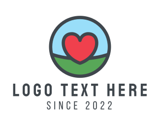 Family - Red Heart Circle logo design