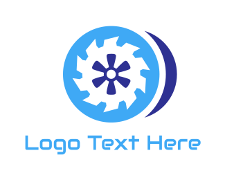 Tire - Blue Round Saw logo design