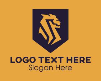 Merlion - Golden Lion Shield logo design