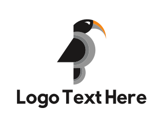 Black Parrot - Black Toucan Bird logo design