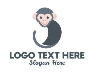 Chimpanzee - Round Monkey logo design