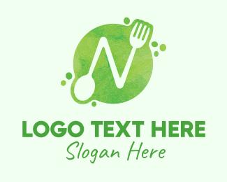 Watercolor - Food Spoon Fork Restaurant Letter N logo design