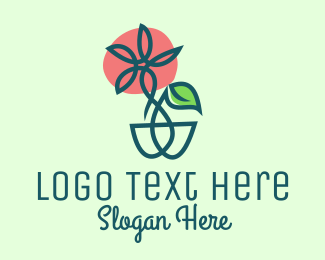 Botanical Product - Daisy Flower Pot  logo design