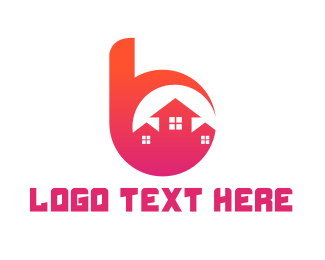 Pink House - Pink B Housing logo design