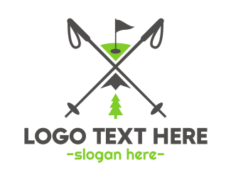 Skiing - Golf & Ski logo design