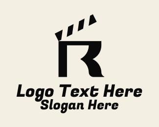 R - Letter R Clapperboard logo design