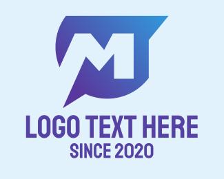 Talking - Message Bubble Letter M  logo design