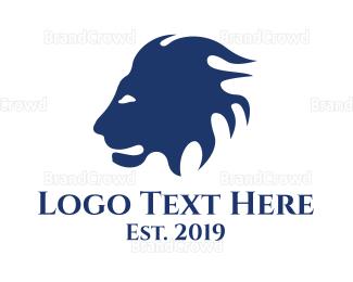 Lioness - Blue Lion Head logo design