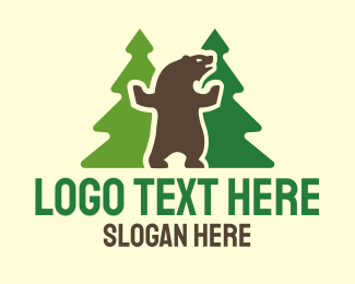 Brown Bear - Dancing Bear logo design