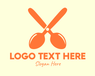 Utensil - Orange Spoon Scissors logo design