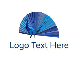 Peacock - Origami Peacock logo design